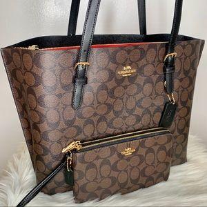 Coach Large Mollie Tote Bag / Wallet Set
